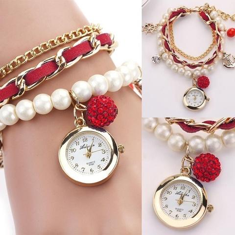 Купить Часы-браслет с жемчугом (красный) в Магазине тельняшек