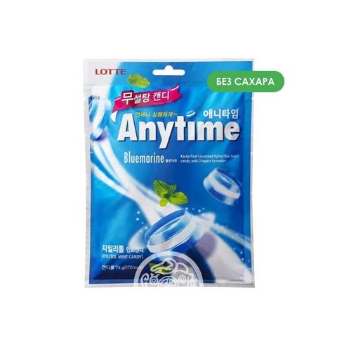 Карамель леденцовая с ксилитолом Anytime Bluemarine без сахара 74г Lotte Корея