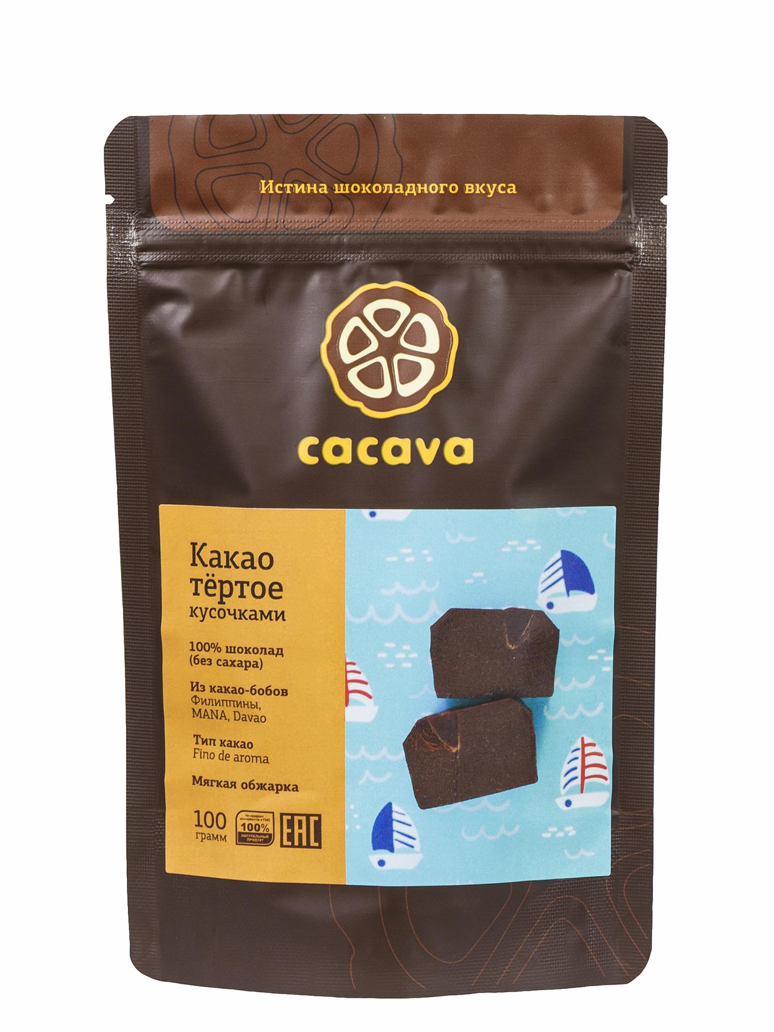 Какао тёртое кусочками (Филиппины, MANA, Davao), упаковка 100 грамм