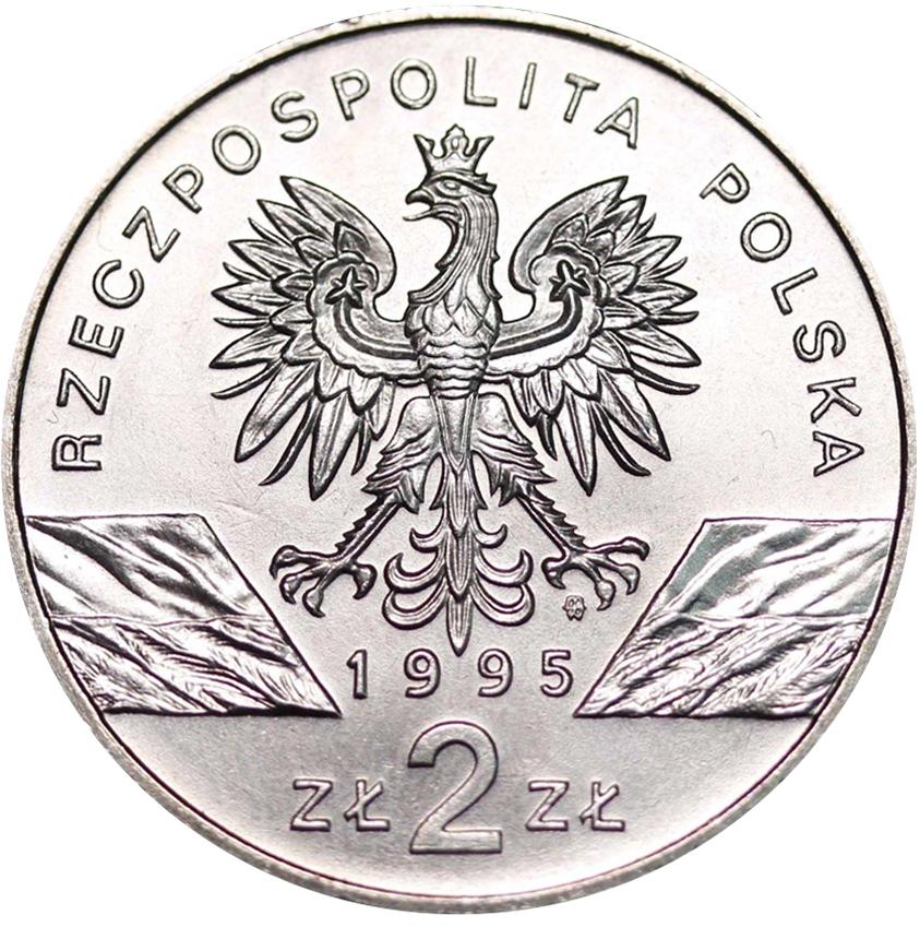 2 злотых Сом (животный мир) 1995 год, Польша. UNC