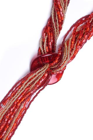 Бисерный галстук из 18 нитей красно-золотистый