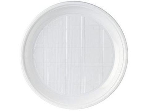 D=205 мм Тарелочка одноразовая пластик бессекц. белая А СтП ПС  (5,2г) D=205 мм