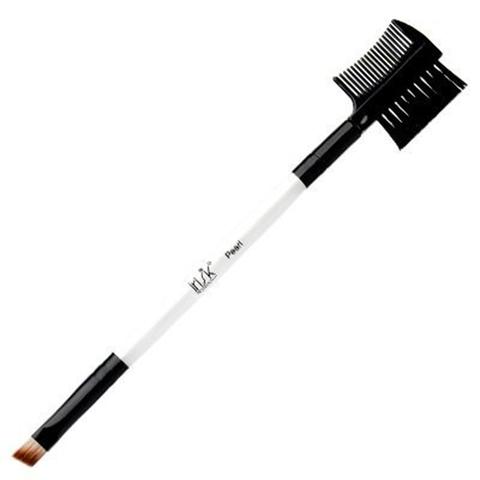 Кисть макияжная двухсторонняя Irisk Pearl скошенная для бровей с щеткой-расческой В507-07