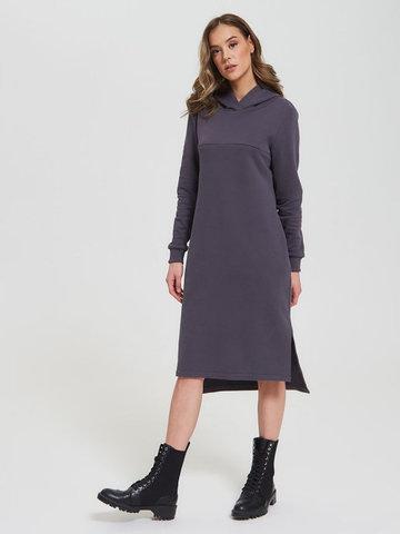 Платье с капюшоном с горизонтальным секретом Графит