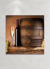Картина на стекле/ Картина на стену Бочка вина, 28х28см