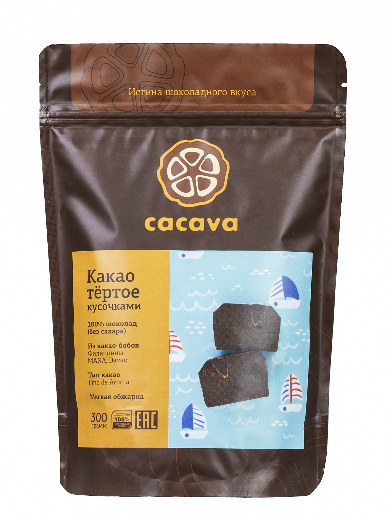 Какао тёртое кусочками (Филиппины, MANA, Davao), упаковка 300 грамм