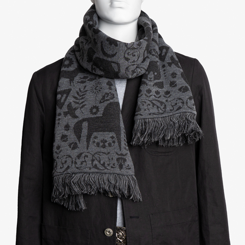 Dark Night - gray tones No. 2.2 (Fringed Scarf)