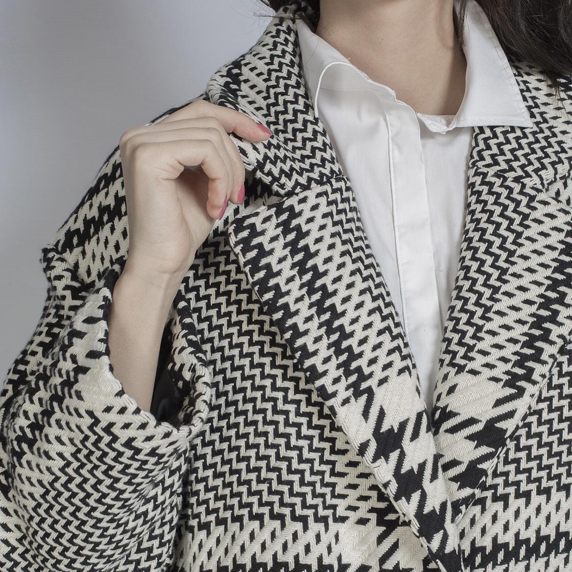 Пальто, UNO, H1167 (черно-белый)