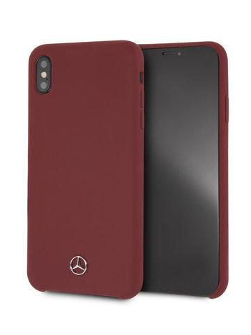 Чехол Mercedes для iPhone XS Max | логотип силикон красный