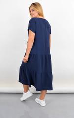 Касіні. Плаття plus size з воланами по низу. Синій.
