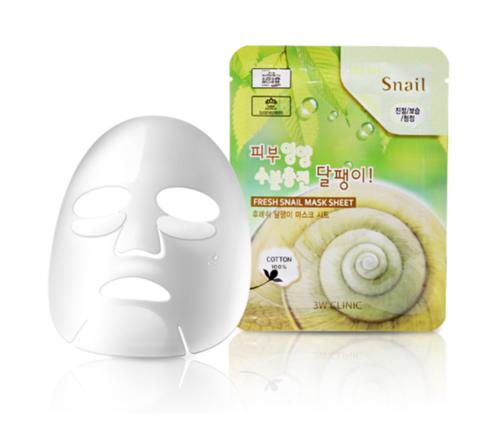 3W Clinic Fresh Snail Mucus Mask Sheet тканевая маска для лица с экстрактом улиточного муцина