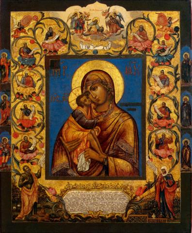 Икона Божией Матери Феодоровская с пророками на дереве на левкасе мастерская Иконный Дом