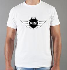 Футболка с принтом Мини Купер (Mini) белая 002