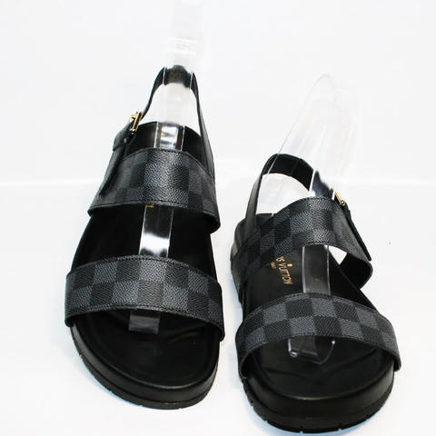 Модные мужские шлепанцы Louis Vuitton 1008 01Blak.