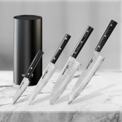 Набор из 4 кухонных стальных ножей Samura 67 Damascus и подставки KBF-102