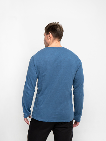 Long-sleeved crewneck navy t-shirt
