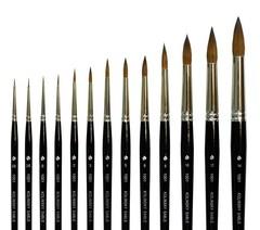 Круглая кисть из волоса колонка, короткая ручка, серия 1001, АртАвангард