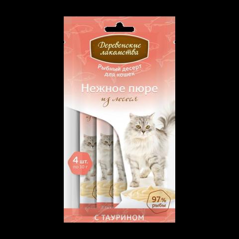Деревенские лакомства Лакомство для кошек Нежное пюре из лосося