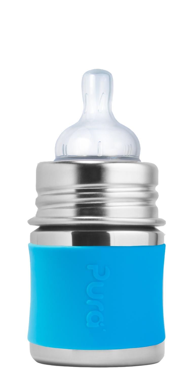 Детская стальная бутылочка для кормления Pura Kiki 150 мл (0+) ГОЛУБОЙ