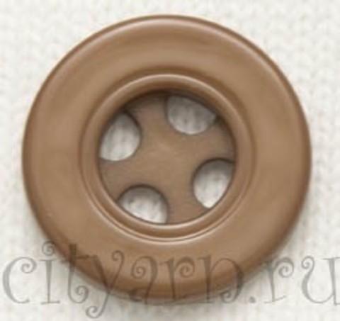 Пуговица круглая с декоративными отверстиями, малая, коричневая