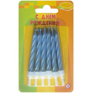 Свечи Перламутр голубой с держателями 12шт 6см