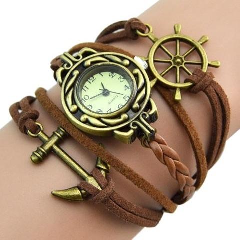 Купить Часы-браслет с якорем и штурвалом (коричневые) в Магазине тельняшек