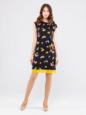 Фото летнее трикотажное платье с открытыми плечами и кружевом - Платье З167а-234 (1)