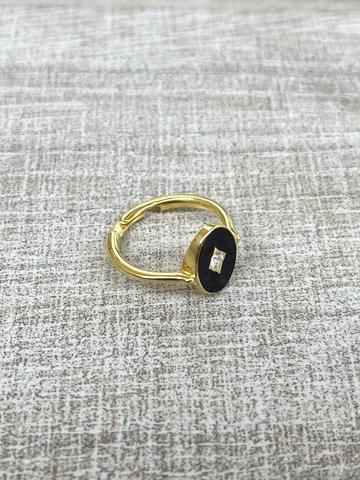 Кольцо Аврора черное, позолота