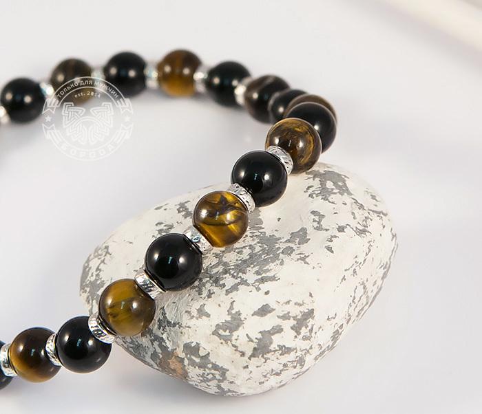 BS703 Яркий мужской браслет из тигрового глаза и агата, ручная работа, «Boroda Design» фото 04
