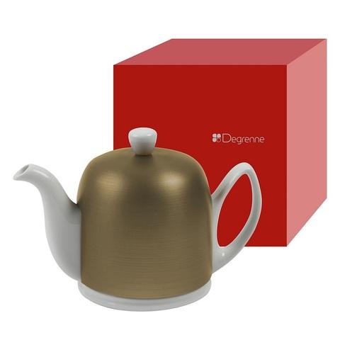 Фарфоровый заварочный чайник на 6 чашек с бронзовой крышкой, белый, артикул 216415.