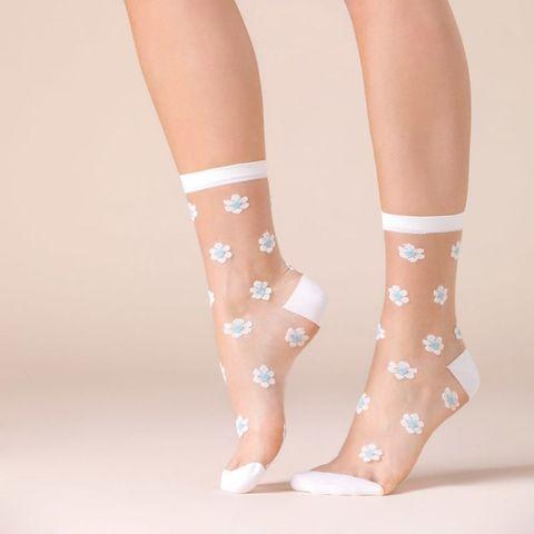 Белые носочки Daisy с голубыми ромашками