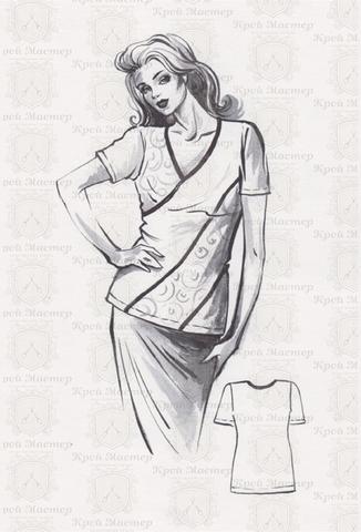 Выкройка асимметричной блузки с V образным вырезом