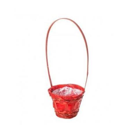 Корзина плетеная (бамбук), D13xH11/36см, красный