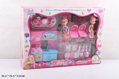 Набор мебели с 2-мя куклами и аксессуарами (в коробке), 1100-5