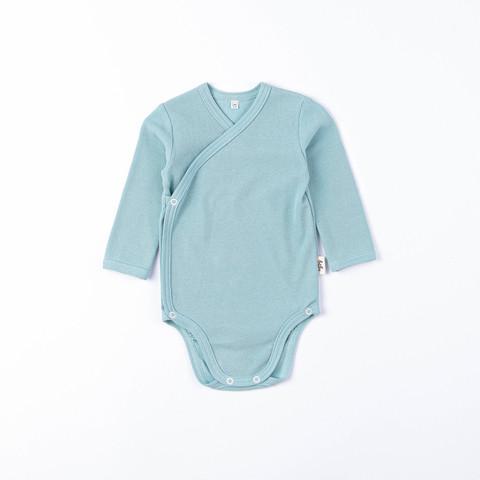 Ribbed long-sleeved kimono bodysuit 0+, Sea Blue