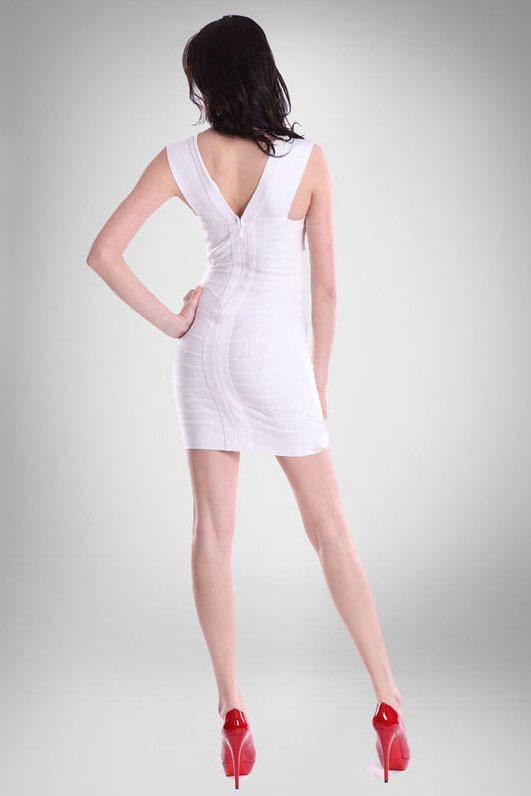 Белое бандажное мини-платье