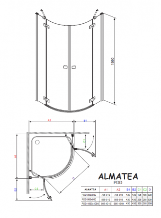 Душевой угол RADAWAY Almatea PDD 80 30512-01-01N