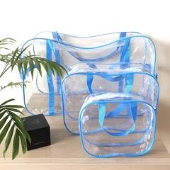 Прозрачная сумка в роддом с 2 косметичками, голубая, вид 1