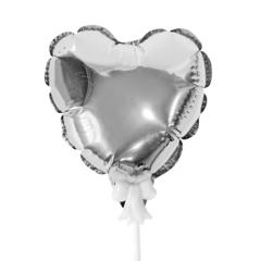 К Шар самодув Сердце Серебро / Silver 15 см