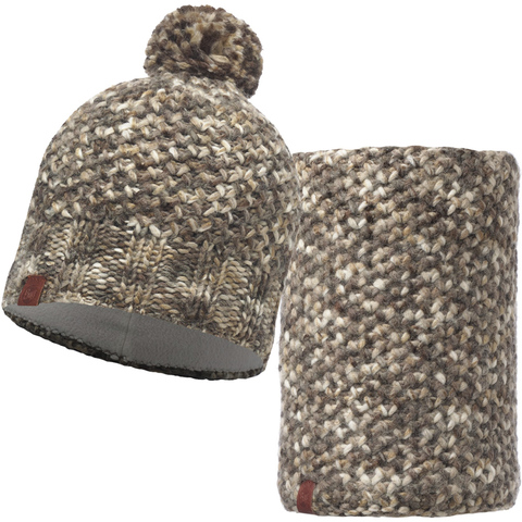 Комплект шапка шарф вязаный с флисом Buff Margo Brown Taupe фото 1