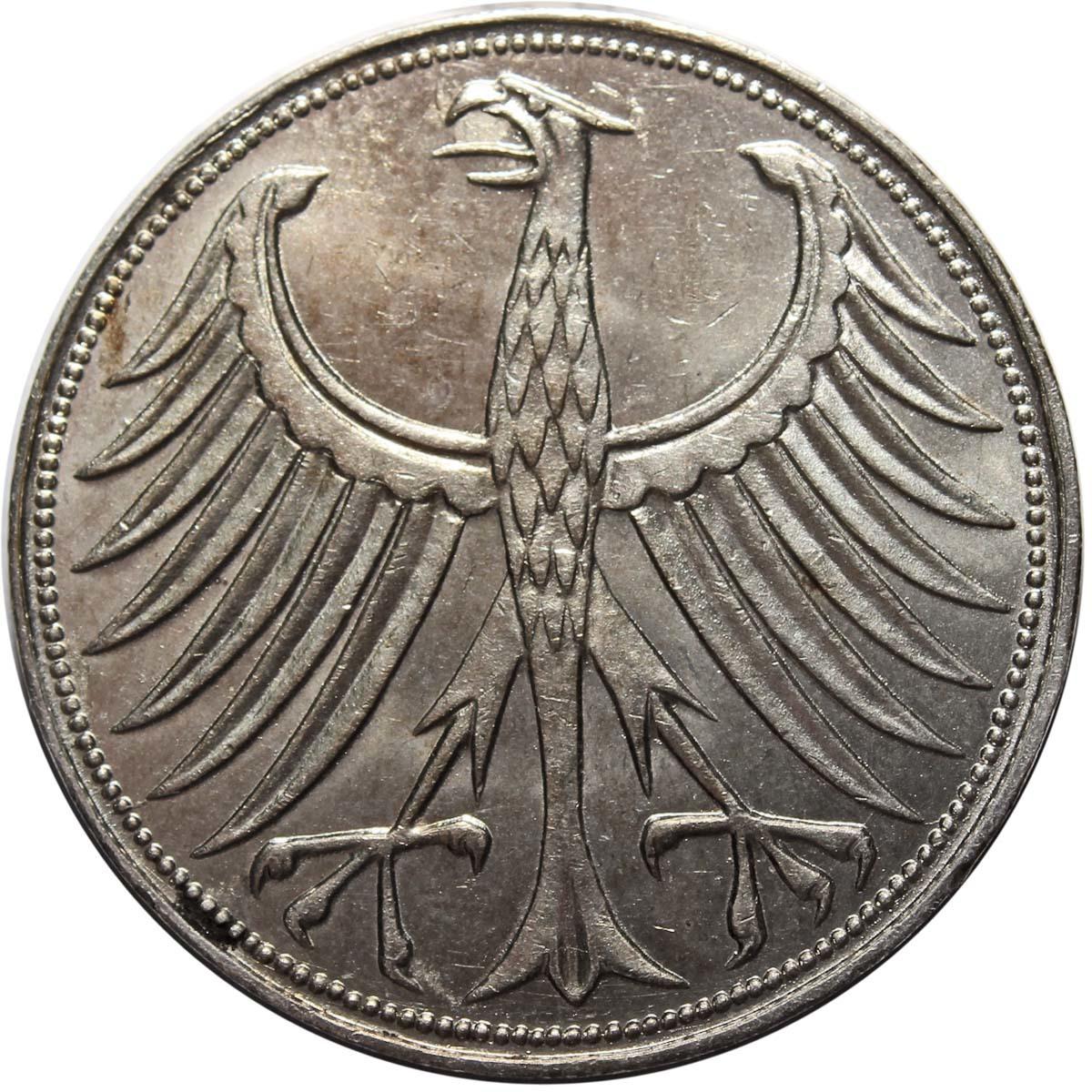 5 марок. Германия. (J). Серебро. 1951 год. XF-AU