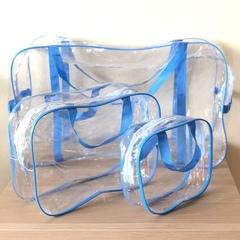 Прозрачная сумка в роддом с 2 косметичками, голубая, вид 4