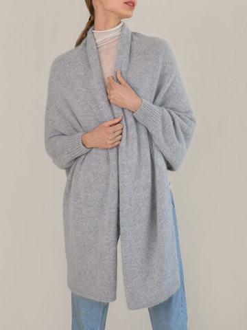Женский шарф с рукавами серого цвета из ангоры - фото 4