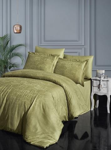 Комплект постельного белья DO&CO Бамбук  жаккард  BAMBOO SUPERIOR SASHA 2 спальный (Евро) цвет фисташковый