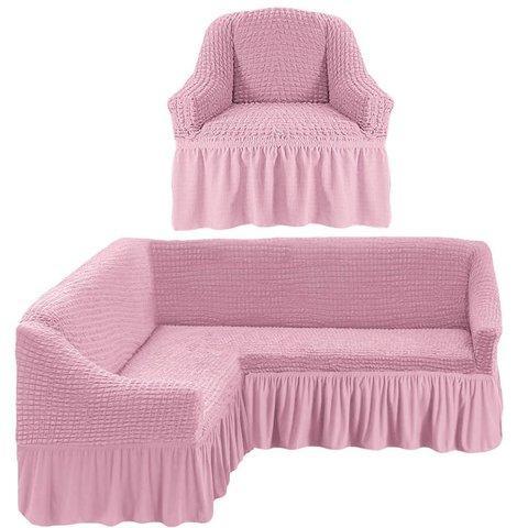 Чехол на угловой диван и кресло, розовый