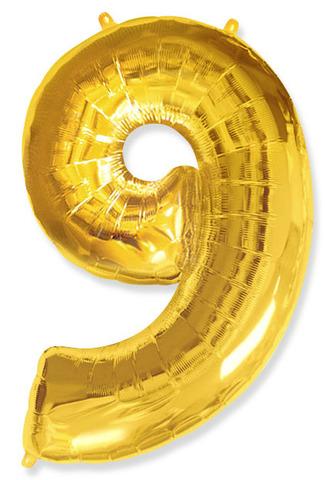 Воздушный шар (40''/102 см) Цифра, 9, Золото, 1 шт.