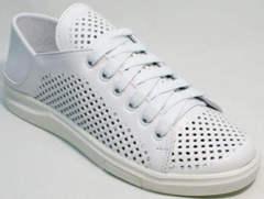 Летние туфли кеды кожаные женские ZiKo KPP2 Wite.