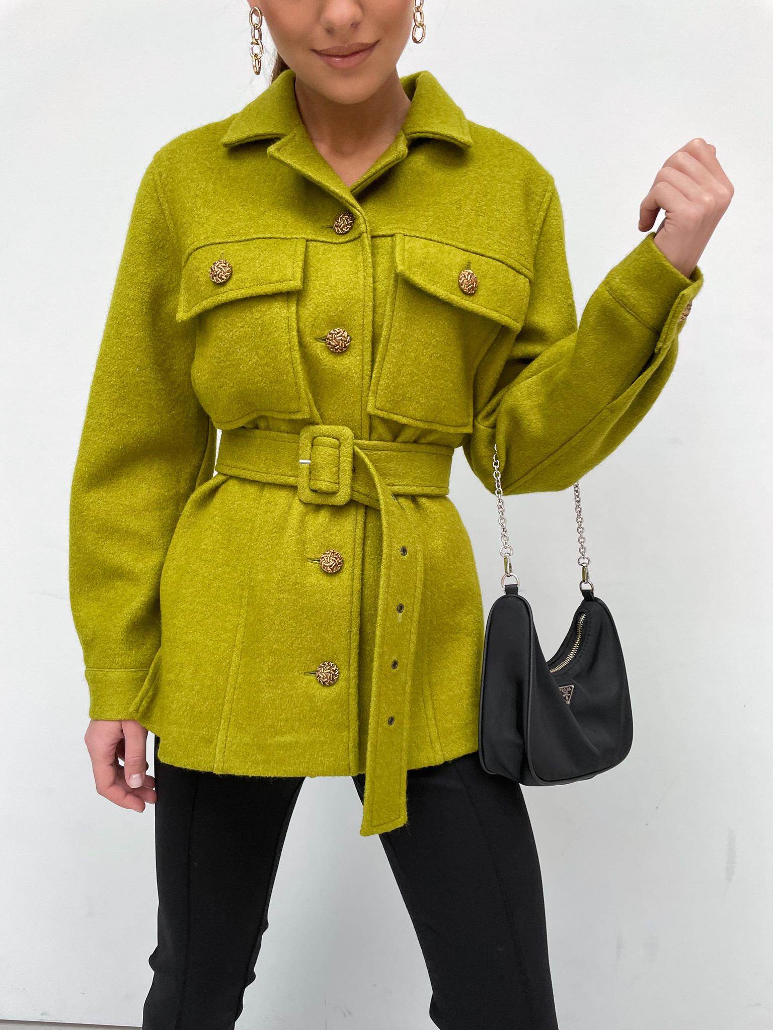 Рубашка с поясом из смесовой шерсти (ярко-зеленый)