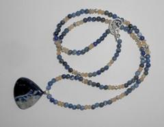 Ожерелье из содалита и лунного камня, 57 см
