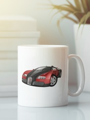 Кружка с автомобилем Bugatti Veyron (Бугатти Вейрон) белая 0010